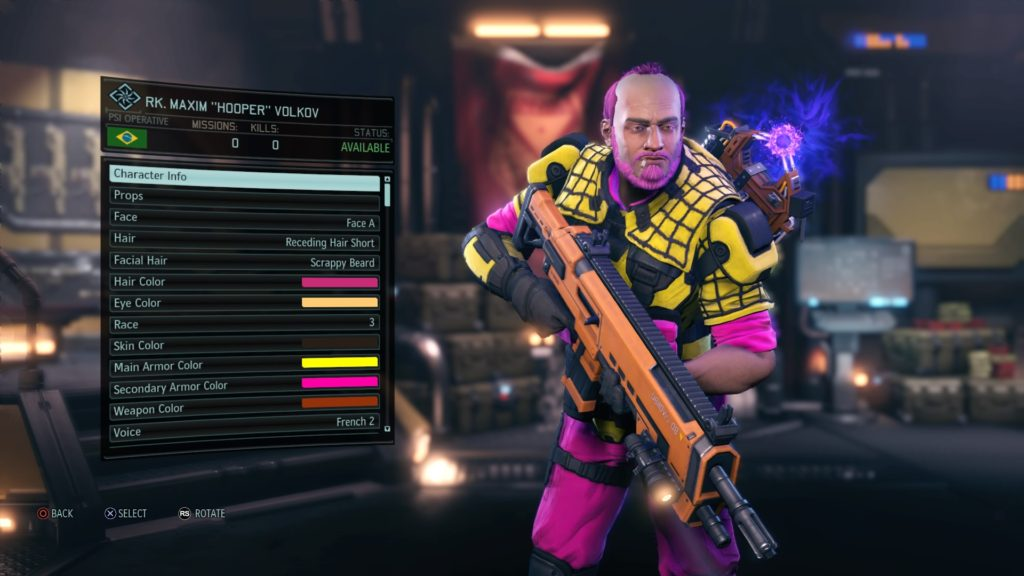 A ridiculous looking yellow and pink XCOM soldier