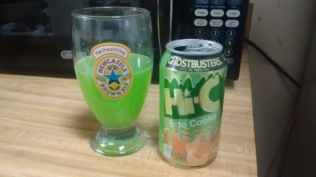 A can of ecto cooler poured in a glass